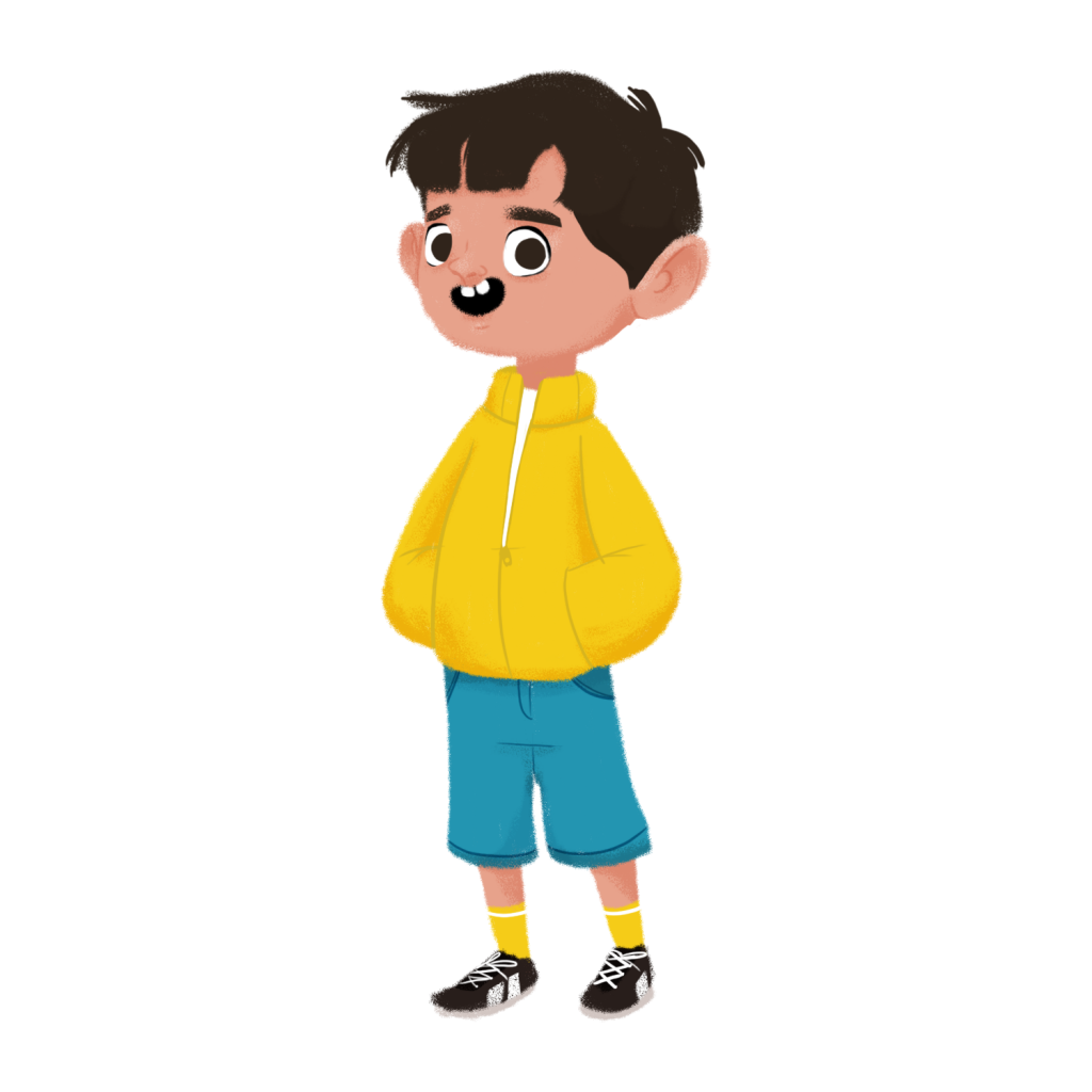 Illustration of a boy with brown hair wearing a yellow jacket, light blue shorts, yellow socks, and black sneakers.