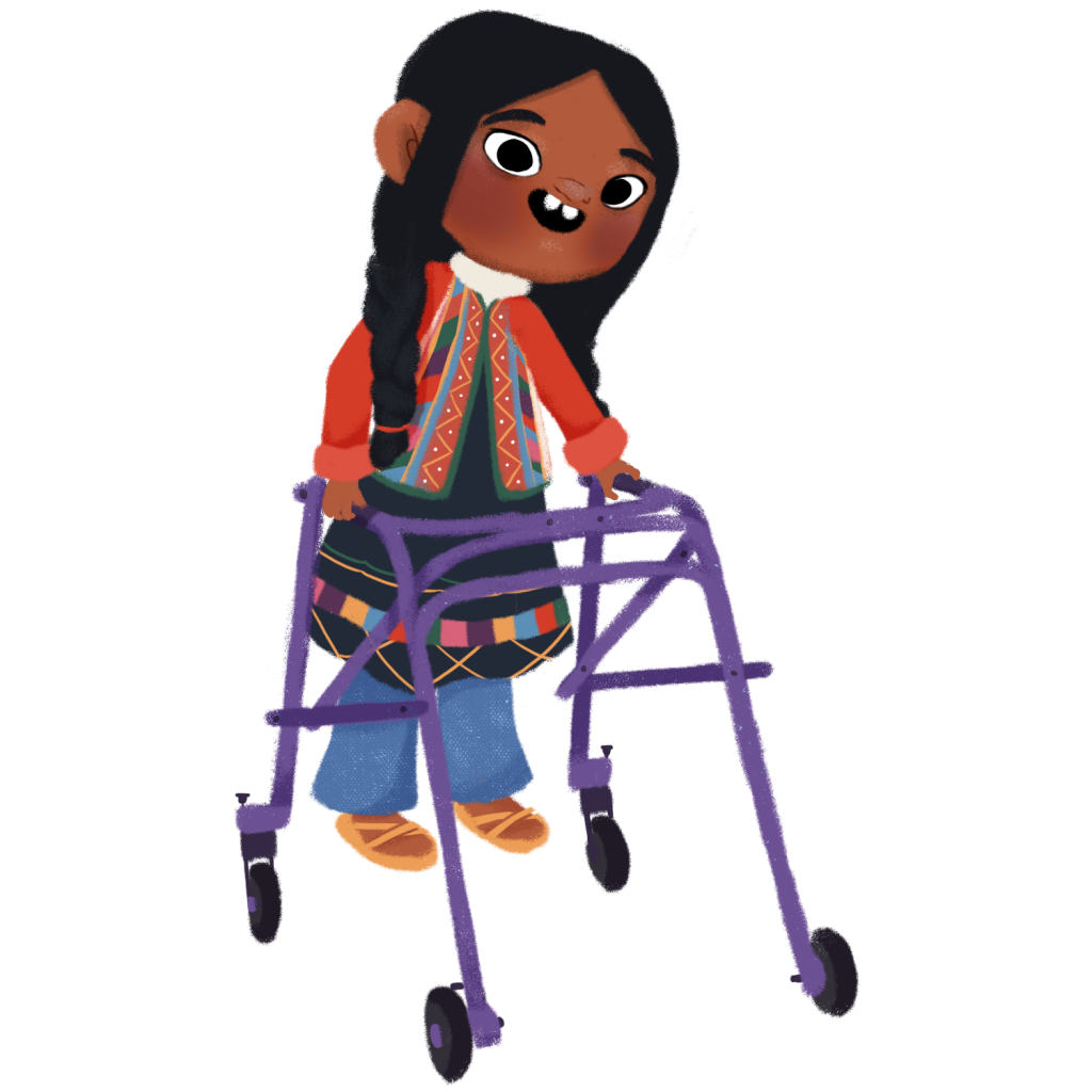Illustration of a girl with long braided black hair, wearing a very colorful clothing typical of the people from the Andean region, with blue pants and yellow sandals. To move around, she leans on a purple walker.