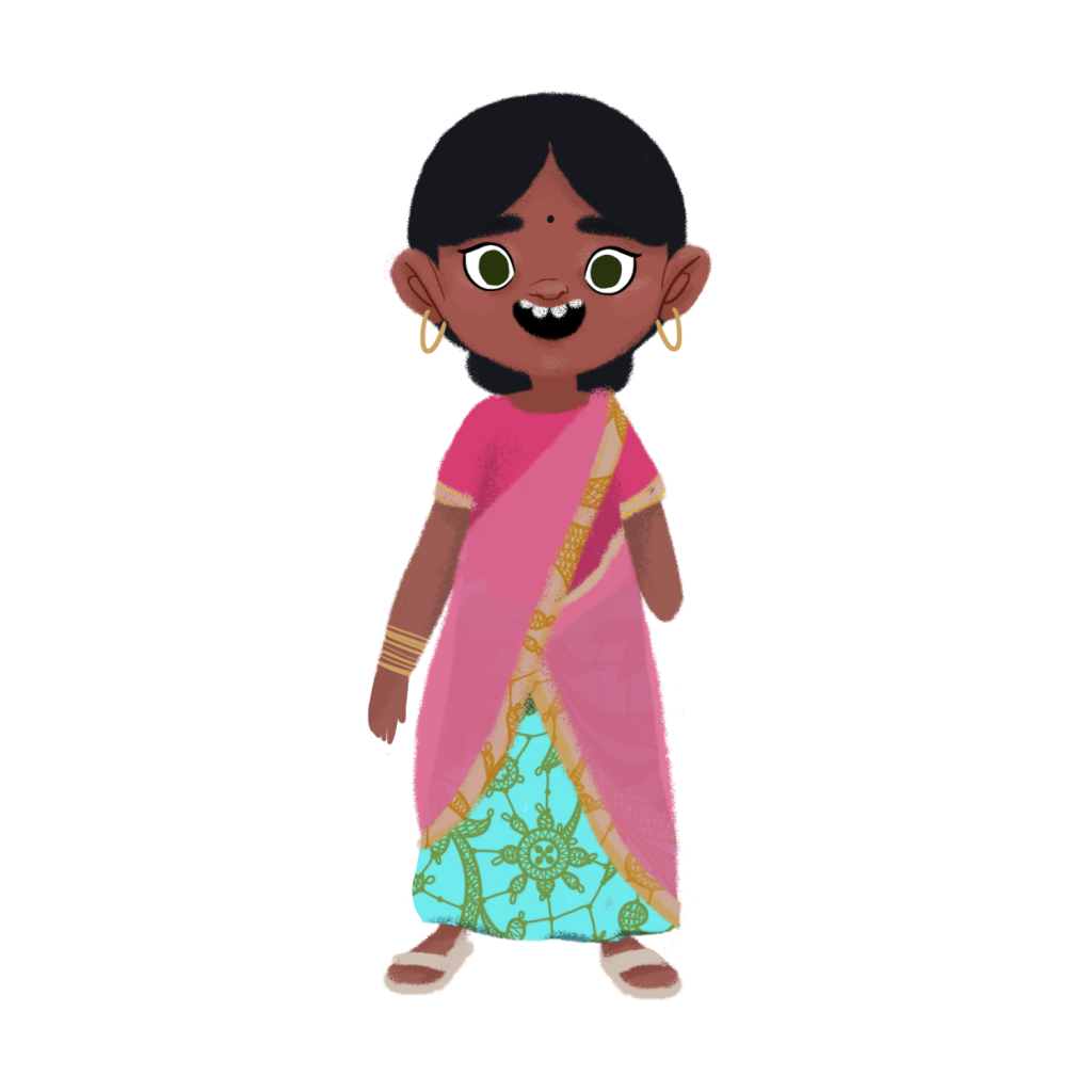 Illustration of a girl with black hair combed into a low bun, wearing typical Indian clothing such as a pink, emerald and gold shari, with light pink sandals. She wears large golden ear rings and many bracelets on her right arm. Her left arm is amputated at the level of the elbow.