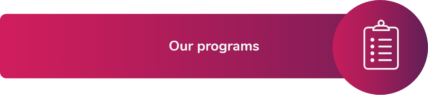 """Our programs. On the left, there is an icon representing a notebook with a list. Click here to be redirected to the """"Programs"""" section of the Fundación Comparlante website."""
