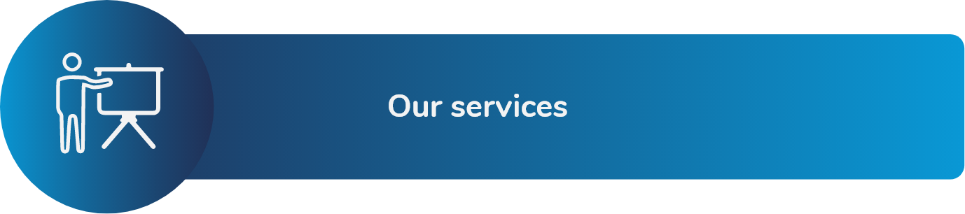 """Services we offer. On the left, there is an icon that represents a person pointing to a blackboard. Click here to be redirected to the """"Services"""" section of the Fundación Comparlante website."""