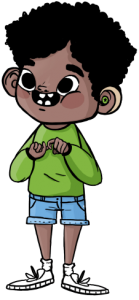 Illustration of a boy with short curly black hair wearing a green long-sleeved shirt, light blue jean shorts, socks, and white sneakers. He has a green headphone and with his hands is making the word friendship in Sign Language.