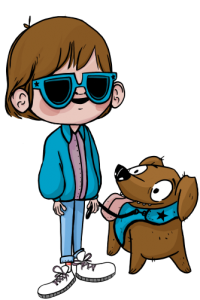 Character with visual impairment and his guide-dog.