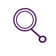 Icon of a magnifying glass in purple.