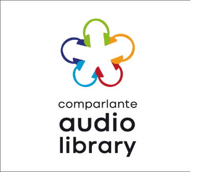 """Logo of Comparlante Audiobook Library: Icon of multicolored headphones intertwined in a wheel shaping a flower over a white background with the words """"Comparlante Audiobook Library"""" in black."""