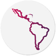 Representation of the shape of the map of the Latin American continent in fuchsia.
